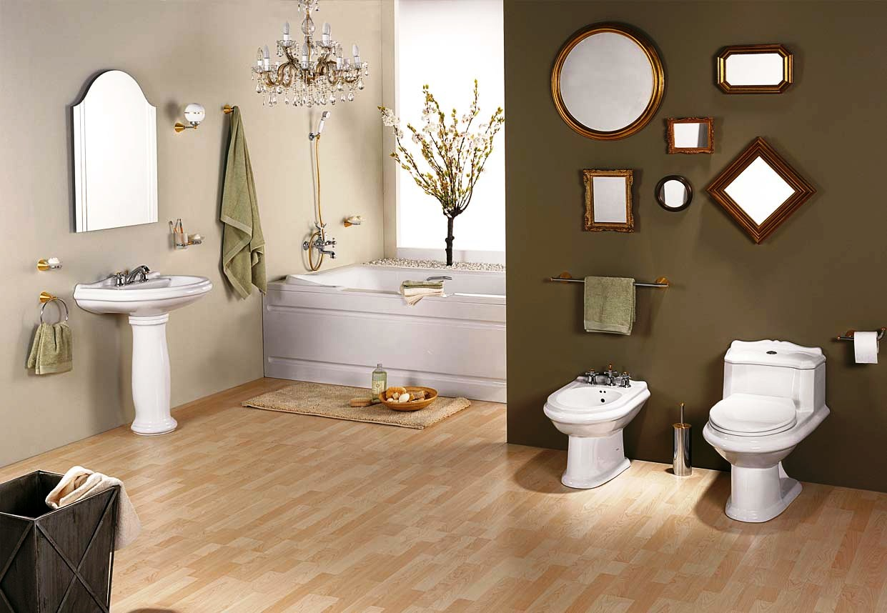 bathroom decorating ideas with interior wall mirror ornament and modern laminate flooring