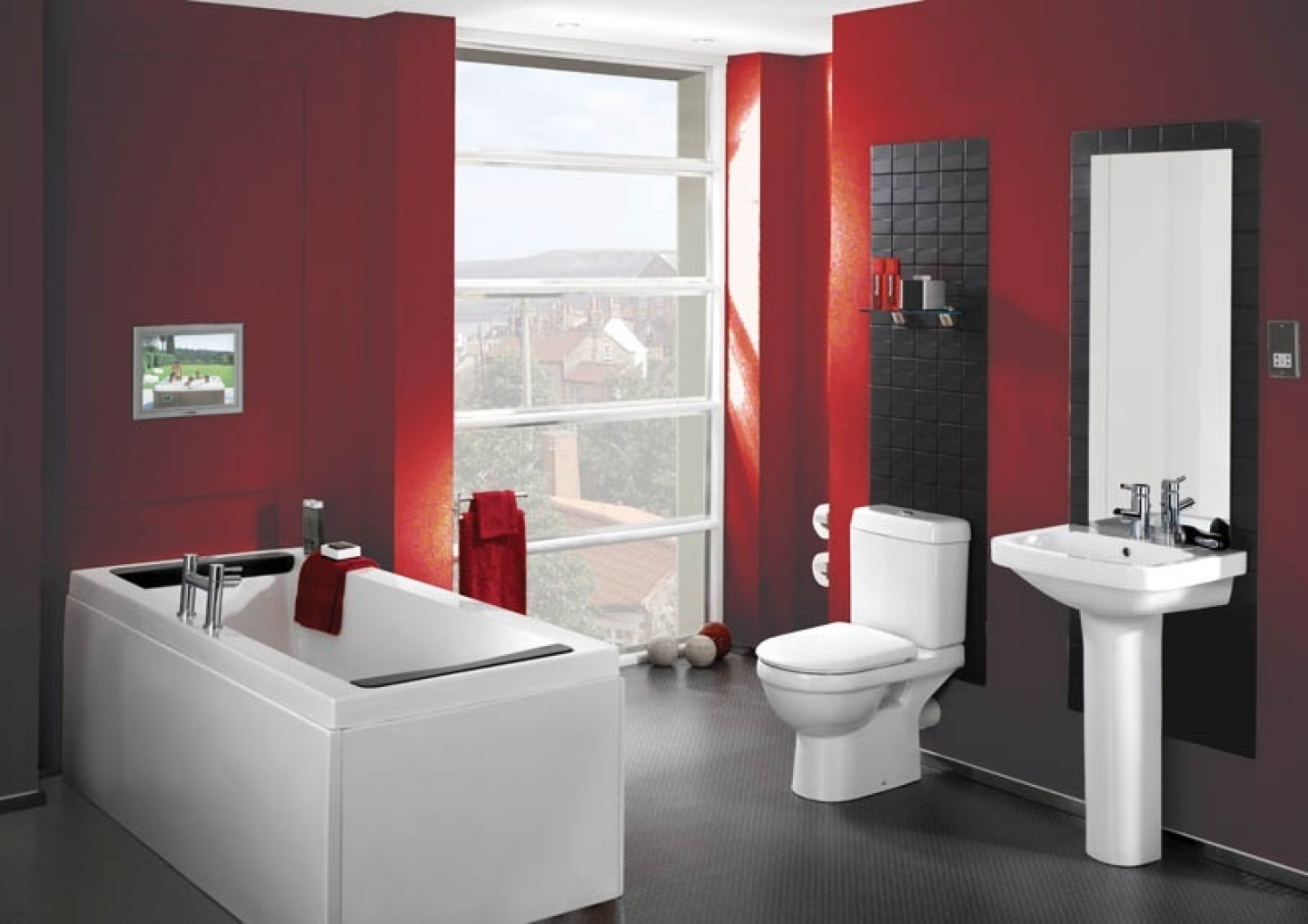 Interior decoration of bathroom - Bathroom Decorating Ideas With White And Red Decoration Also Rectangle Bathtub