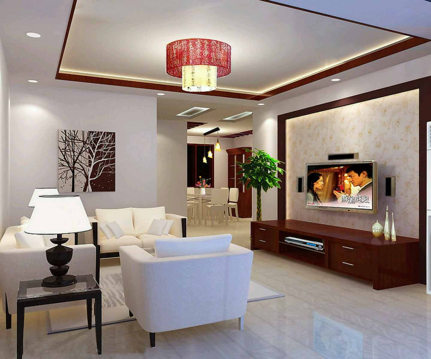 Accent Red Touches for Decorative Ceiling Lamp and Console Table for Living Room Decoration