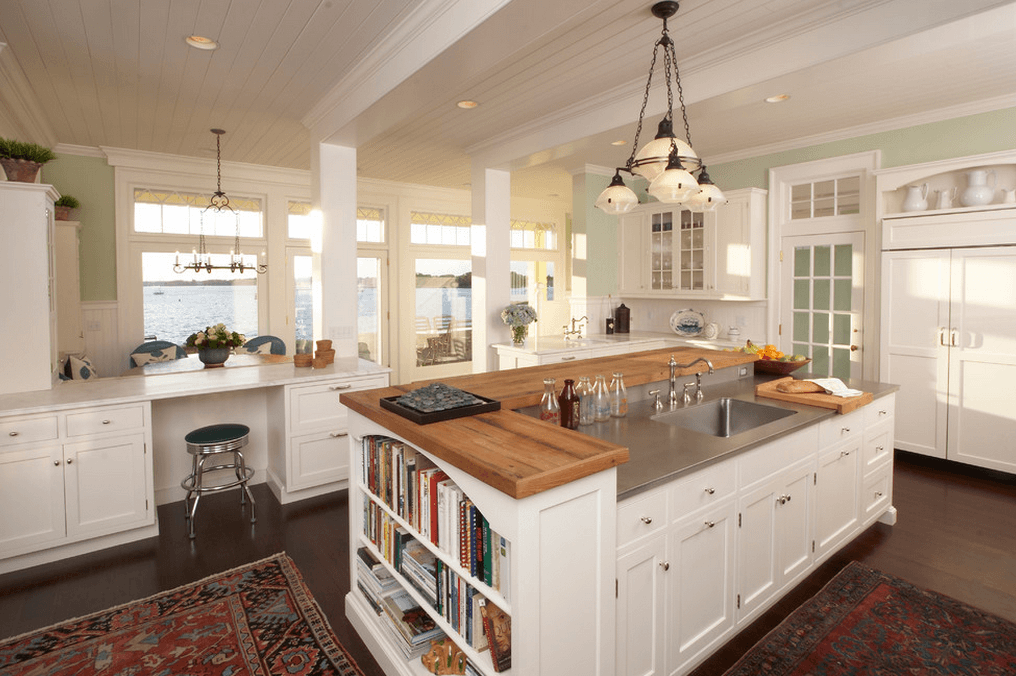 Alluring White Kitchen Island With Wooden Top And Innovative Book Shelves  Design