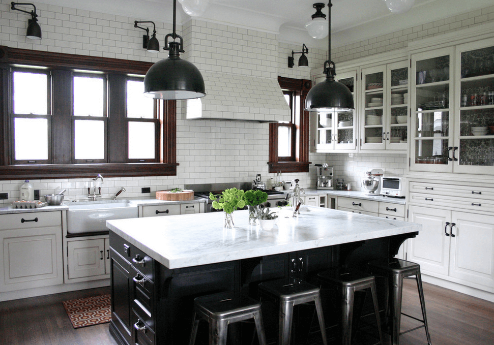 Black Kitchen Island with White Marble Top to Match White Subway Tile