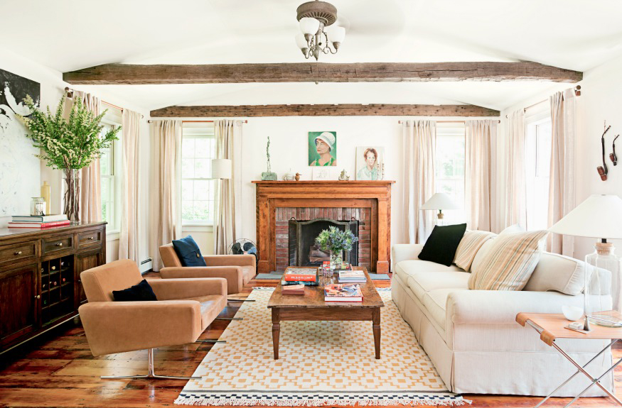 Bold Wood Touches to Play with White and Cream Living Room Decorating Ideas