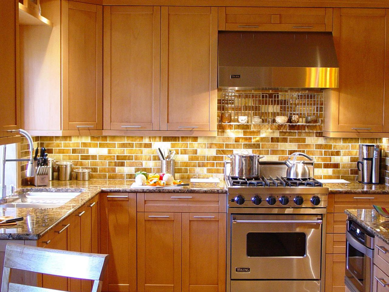 Brown Subway Tile Backsplash Combined With Sleek Wooden Cabinets And  Stainless Steel Stove