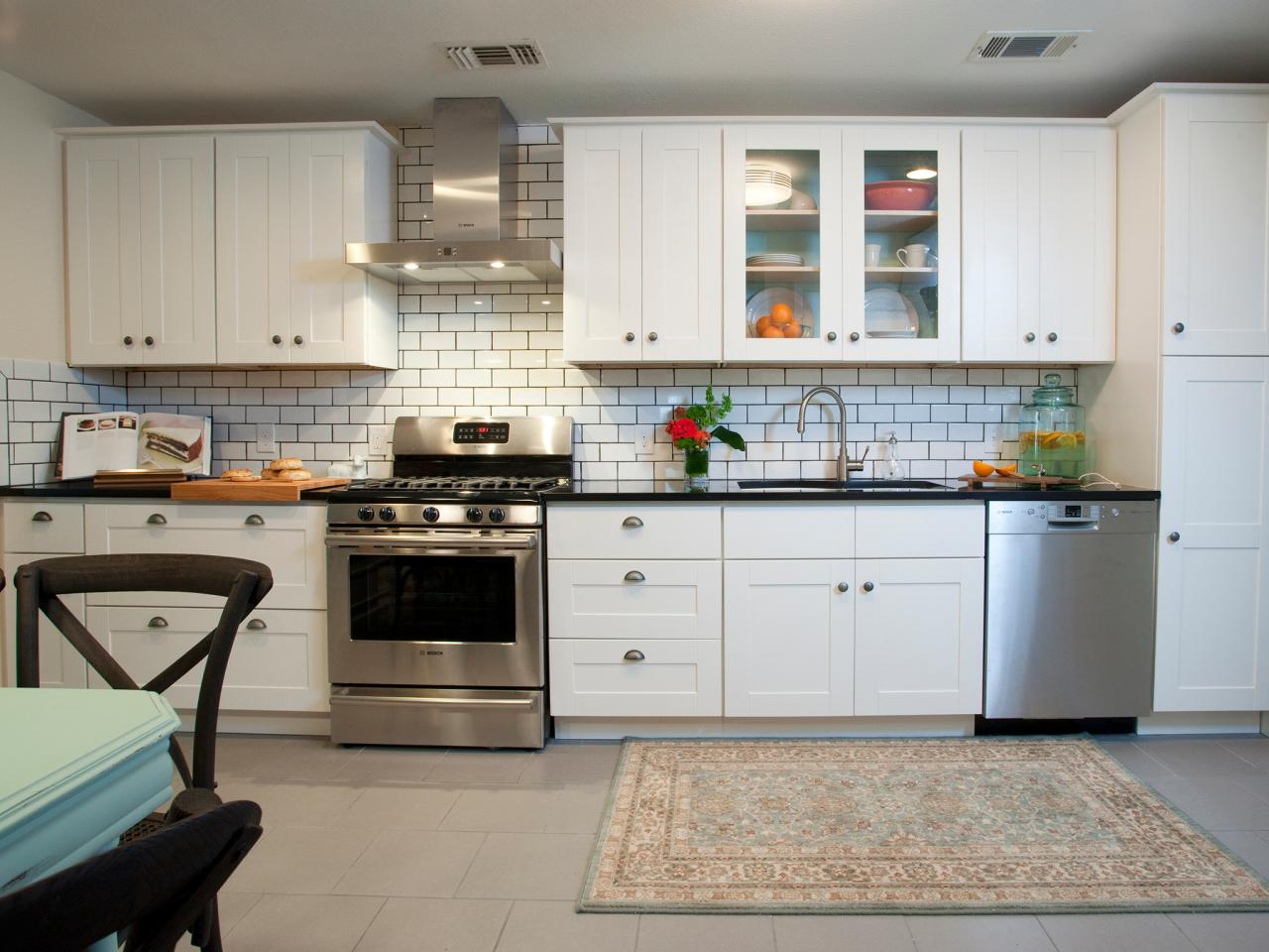 Beau Classic White Subway Tile Extended Backsplash Combined With White Cabinets  With Glass Door