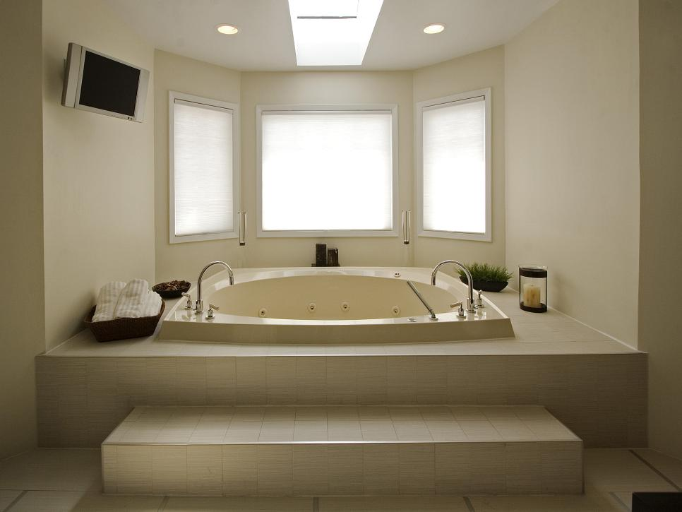 Excellent Contemporary Bathroom Remodel Ideas with Skylight and Extended Bay Window