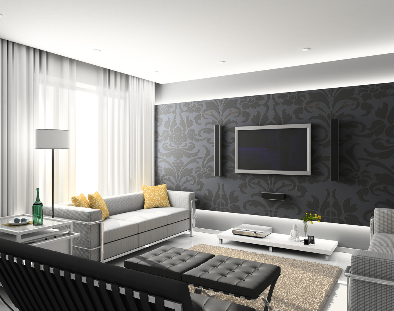 Excellent and Elegant Black Wall Mural Decor with Symmetrical Mounted TV and Sound System