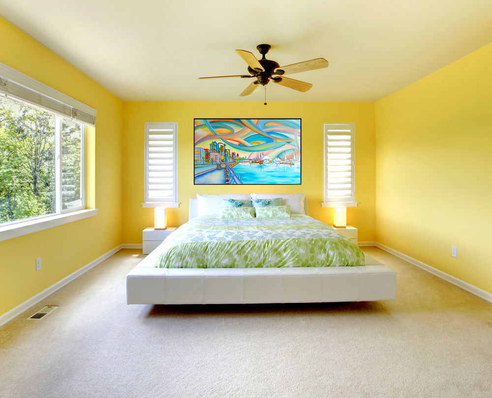 Fresh Bedroom Interior Combining Yellow Accent and Green Natural Touch Adapting Feng Shui Concept