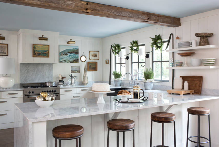Beau Interesting White And Wood Kitchen Interior With Island And Stools