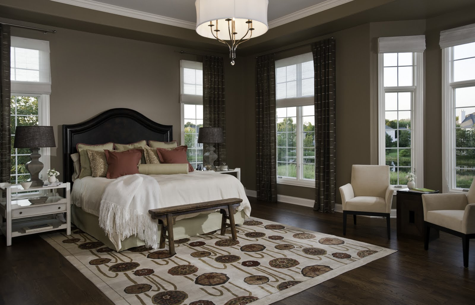 Large Bedroom Design With Window Treatment Ideas
