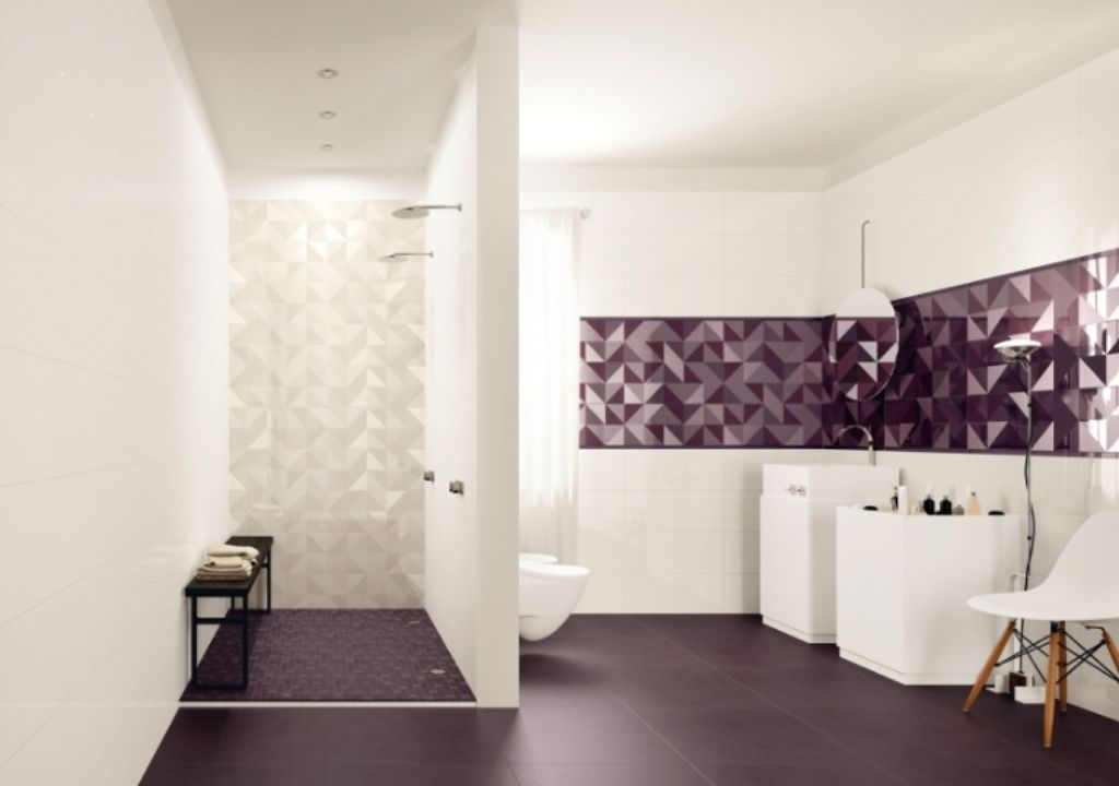 Beau Large Black Floor Tiles Combined With Sleek White Wall Decorated With  Minimalist Furnishing