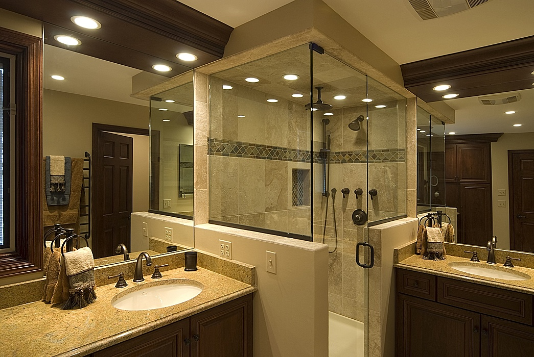 best bathroom remodels. Luxury Bathroom Design Ideas With Well Arranged Corner Shower Between Double Vanities Best Remodels T
