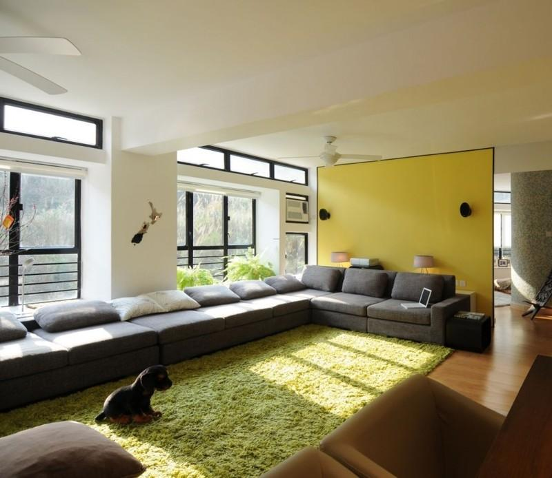 Natural Style Home Decor Ideas with Smooth Green Rug and Greens on Window Sill
