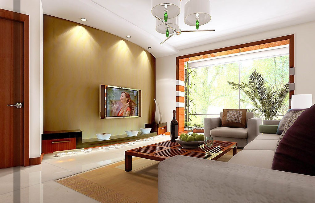 Perfectly Installed Decorative Lighting to Create Innovative Decoration on Wall with Mounted TV