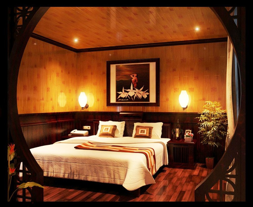 Romantic Bedroom Interior Supported with Decorative Picture and Bamboo Tree