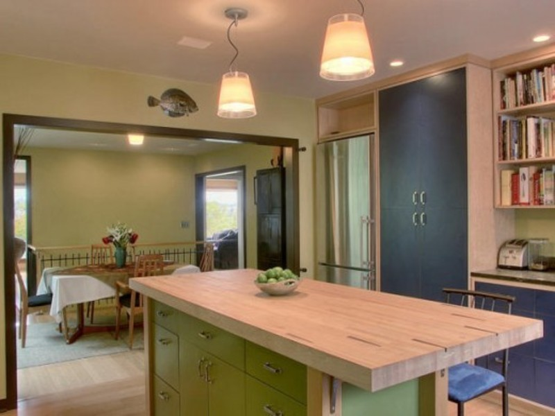 Genial Small And Effective Kitche Island With Extended Wooden Countertop Matched  With Green Island
