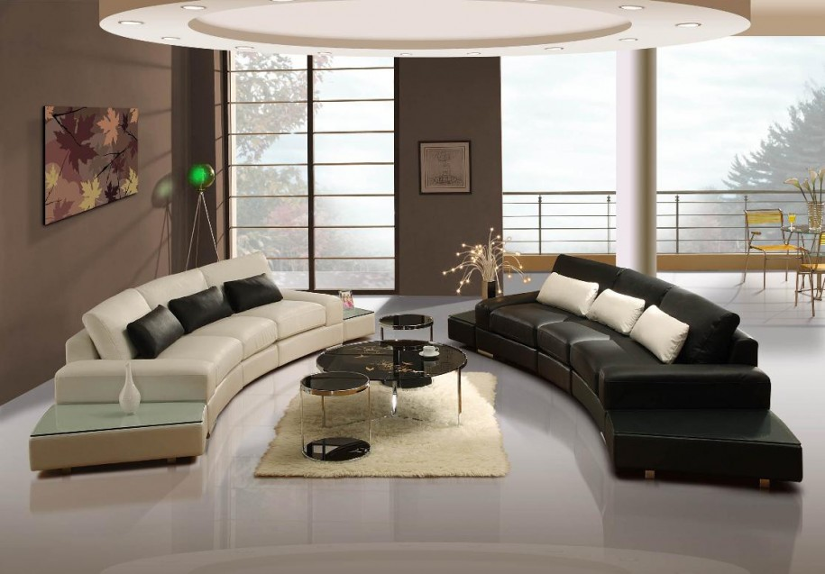 Smart Furnishing with Curvy Black and White Sofas for Contemporary Home Decorating Ideas