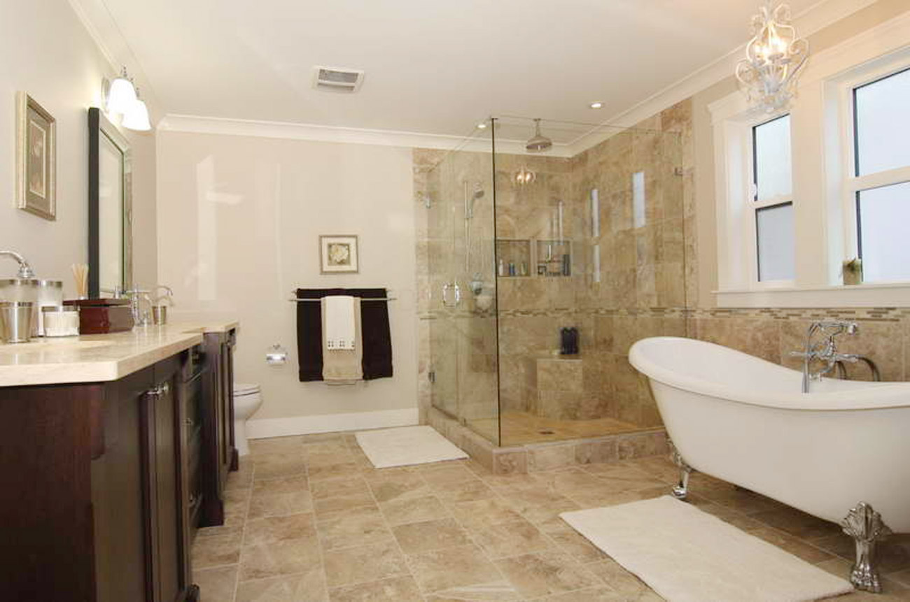 Stone and White Combination for Bathroom Remodel Ideas to Look Modern