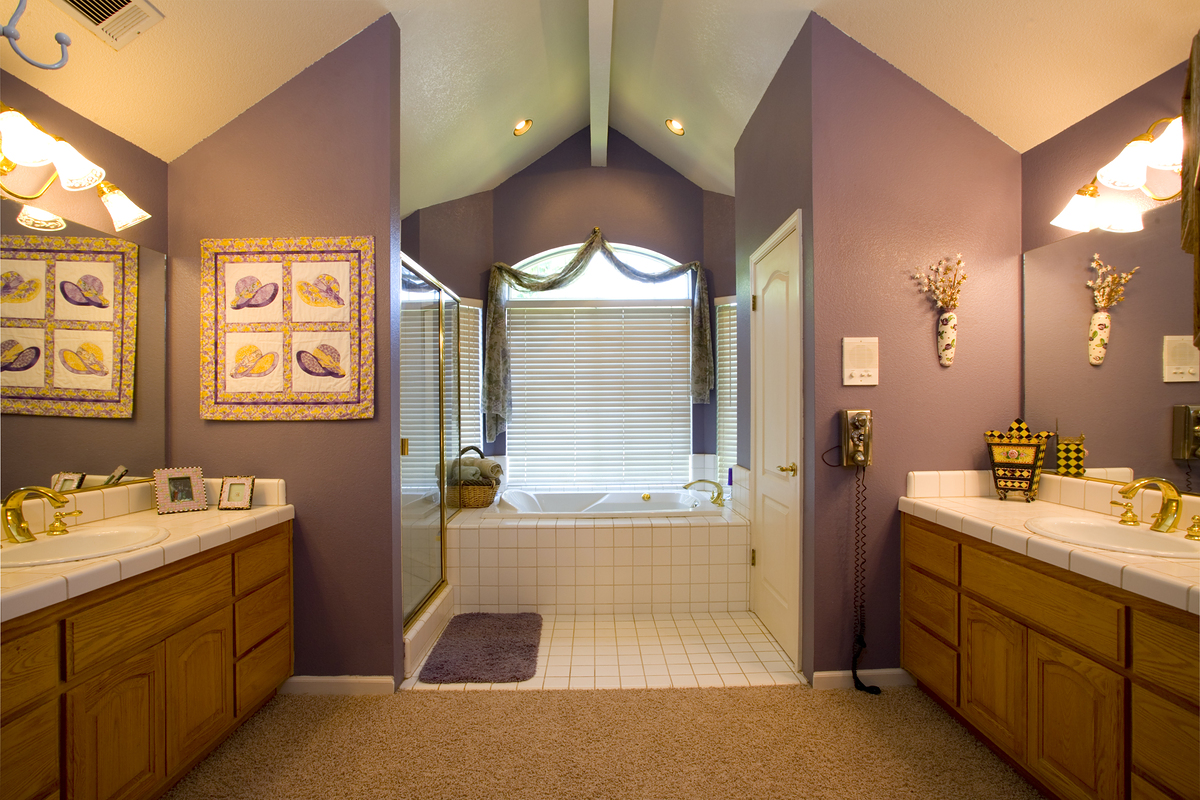Surprising Bathroom Interior Coloring for Remodel Ideas with White, Wood and Purple Combination