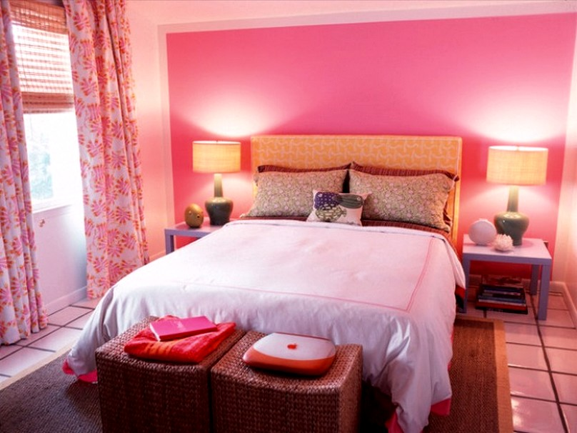 Surprising Pink Accent Completing Feng Shui Bedroom Interior with Floral Curtains
