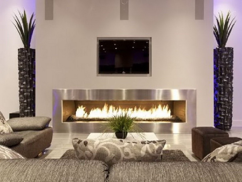 Symmetrical Home Decoration Ideas for Living Room with Large Fireplace and Natural Decorations