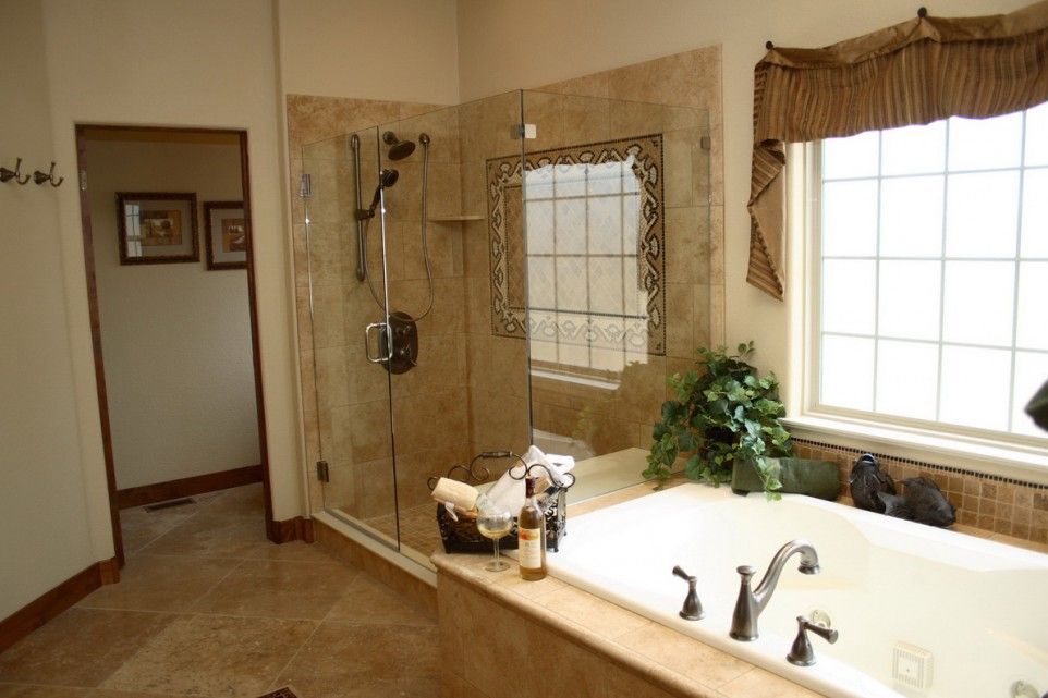 Traditional Bathroom Remodeling Ideas with the Addition of Herbs and Curtain Valance