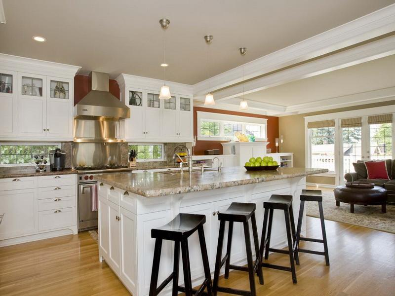 White Kitchen Island Ideas for Large Kitchen Completed with Granite Top and Black Seating