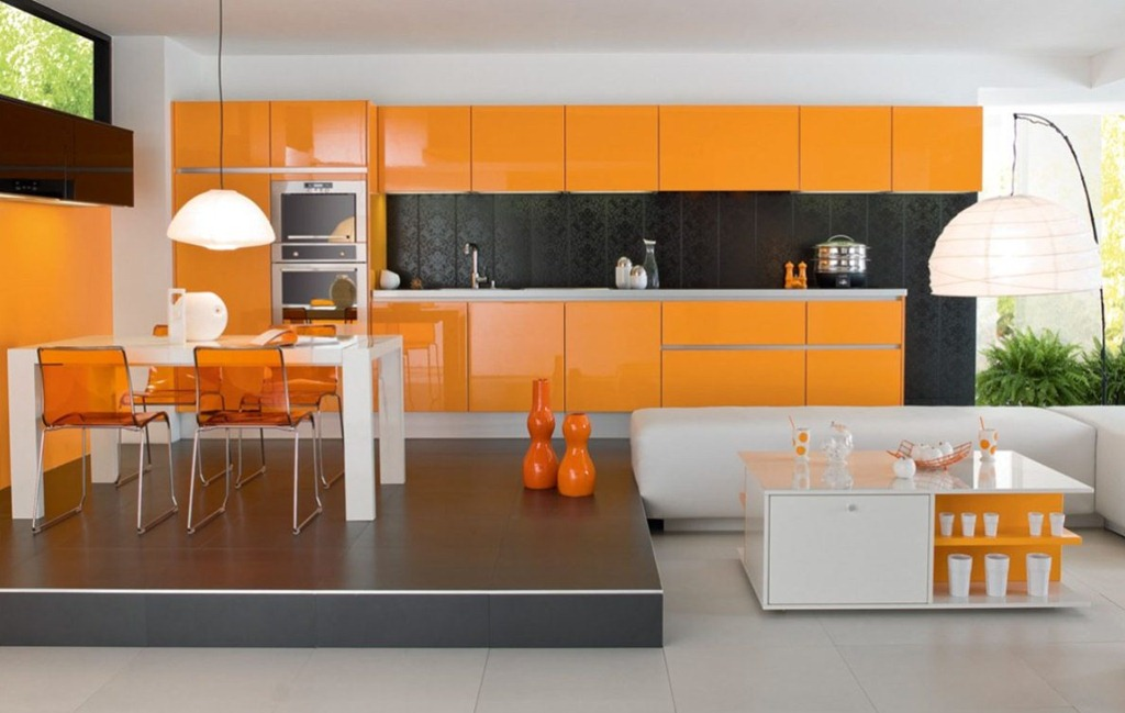 Accent Orange Kitchen Cabinet Color in Glossy Finishing Working with White and Black Touches