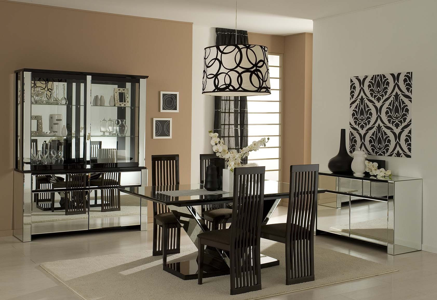Add Artistic Kitchen Wall Decor for Dining Room with Black Table and Cozy Chairs under Wide Ceiling Lamp