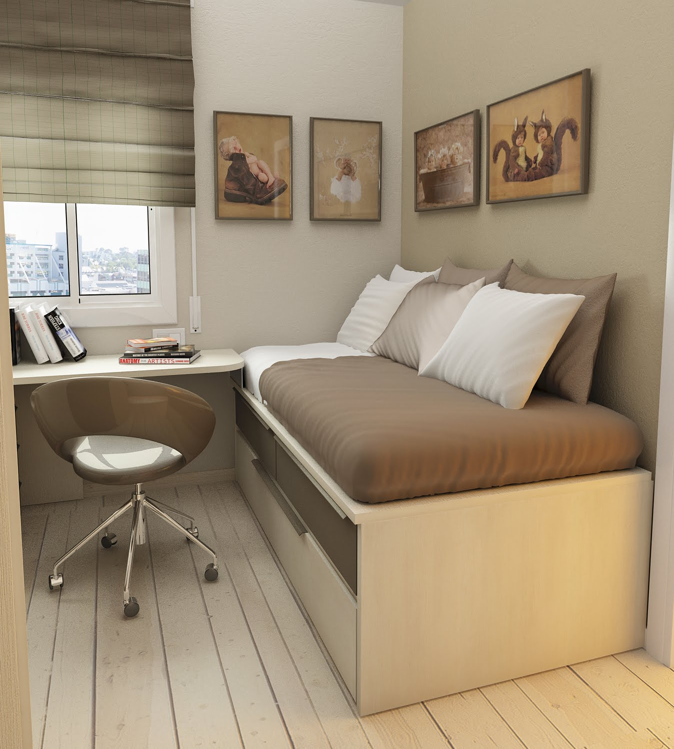 Add Artistic Wall Arts Above Single Storage Bed And Floating Table Inside Small  Room Ideas