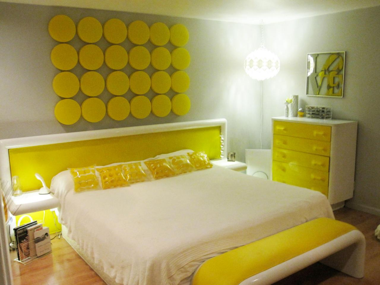 Add Bright Corner Lamp in Grey Paint Colors Bedroom with Yellow Wall Ornament and Headboard
