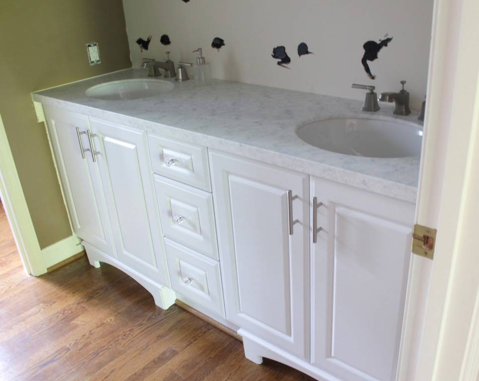 Add Classic Details on Small White Bathroom Vanities with Round Sinks and Marble Top