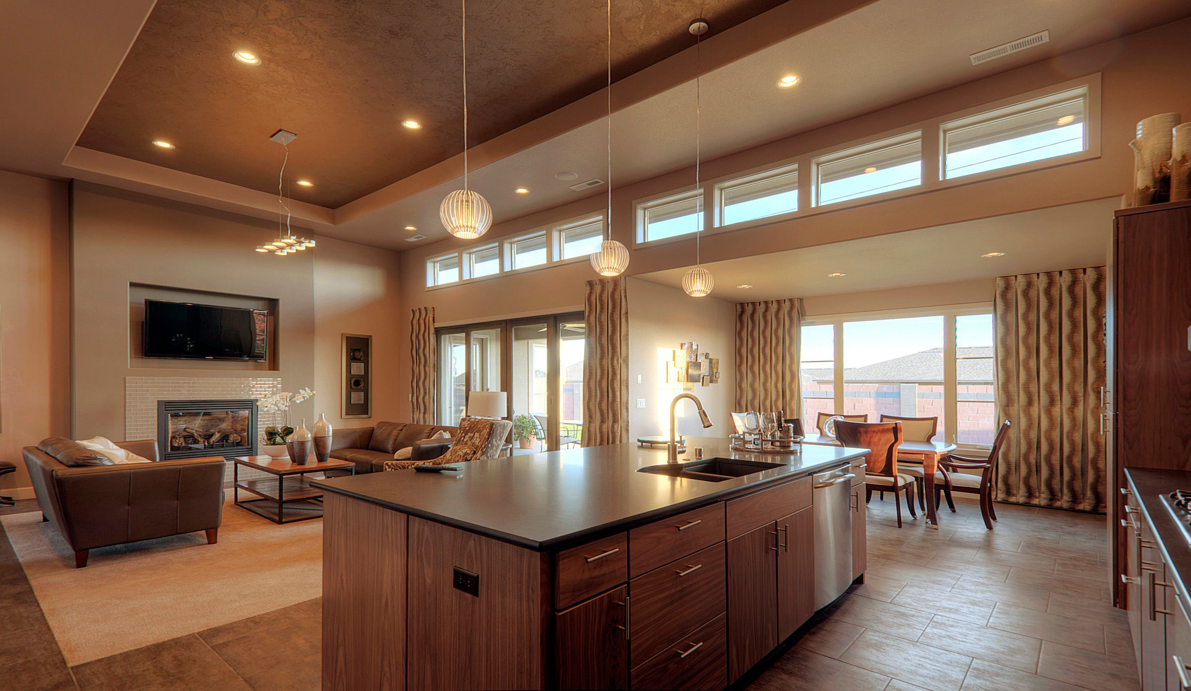 Add Enchanting Ceiling Lamps for Wonderful Open Floor Plans with Oak Kitchen Island and Fluffy Brown Sofas