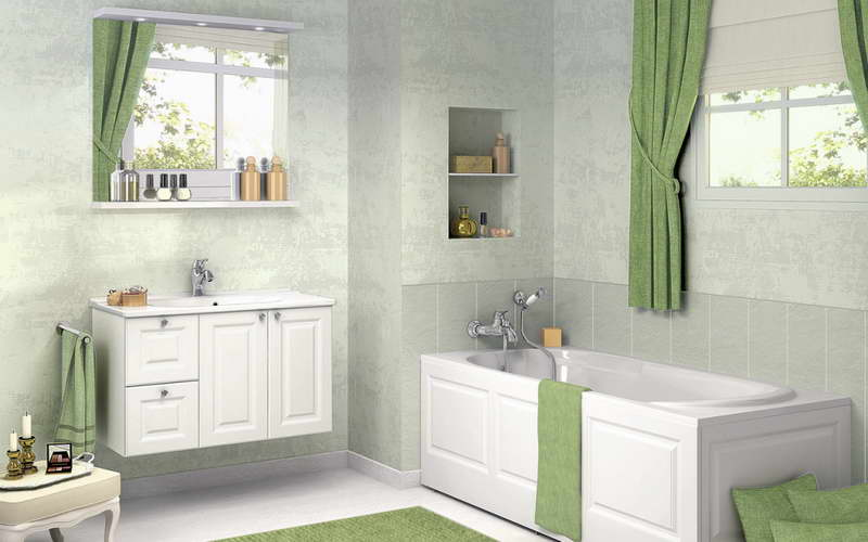 Add Green Bathroom Window Curtains as Accent in Simple Room with White Vanity and Clear Wall Mirror