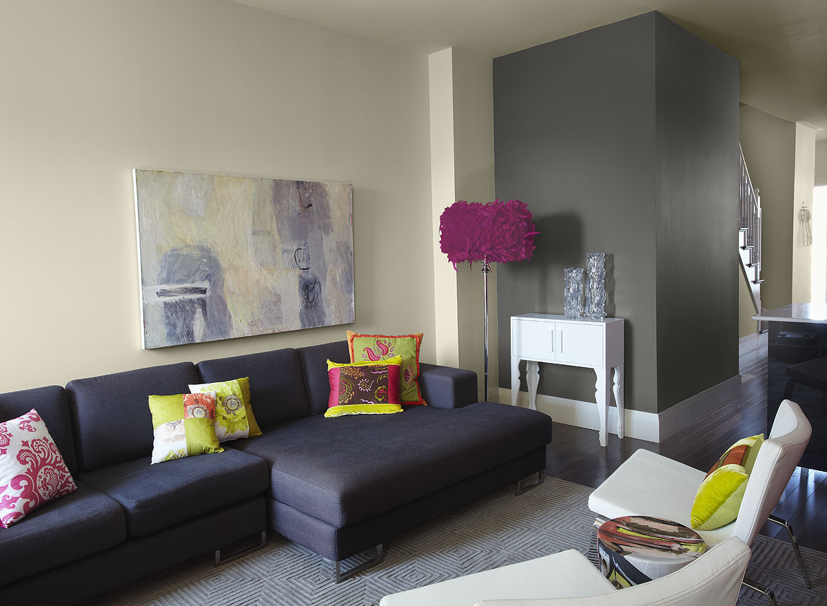 Add Purple Shaded Floor Lamp for Calm Living Room Colors inside Fancy Room with Grey Sofa Chaise