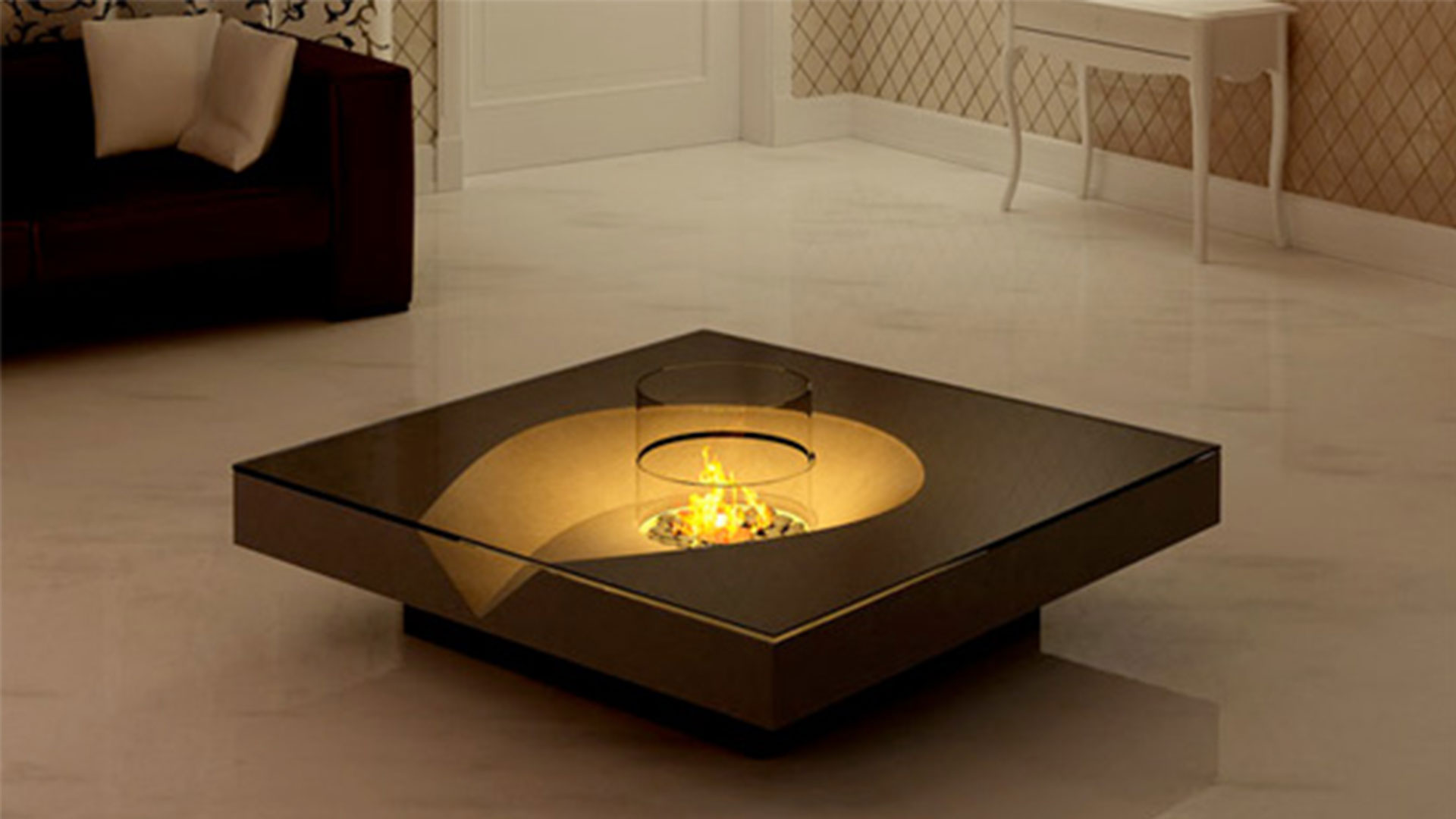 Add Small Fire Pit in Modern Square Coffee Table inside Classic Sitting Area with White Console Table
