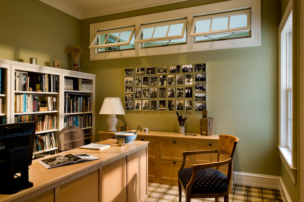 Add Tidy Family Picture Ideas in Comfortable Home Office with Long Desk and Classic White Bookshelves