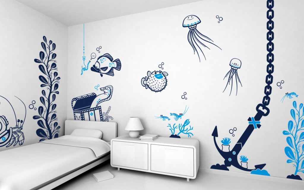 Add Under The Sea Wall Decor Ideas for Minimalist Kid Bedroom with White Bed and Dresser