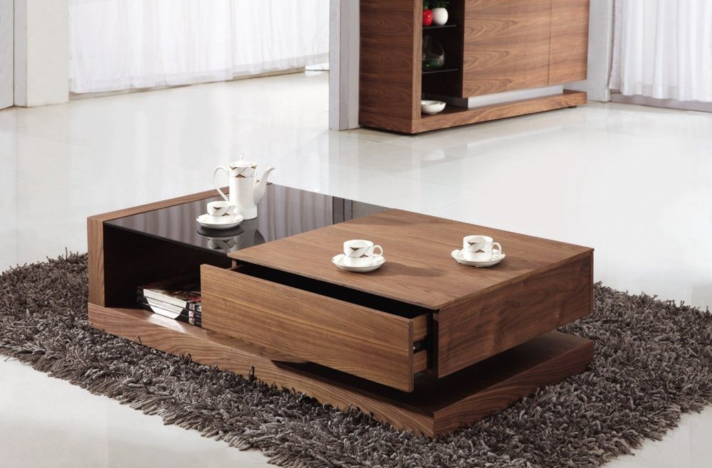 Add Unique Oak Coffee Table with Storage and Glass Top on Grey Carpet Rug near Wooden Cabinet