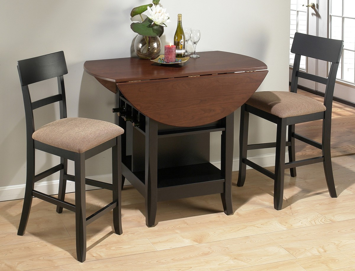 Add Wine Racks in Small Oak Kitchen Table between Old Fashioned Stools on Laminate Flooring