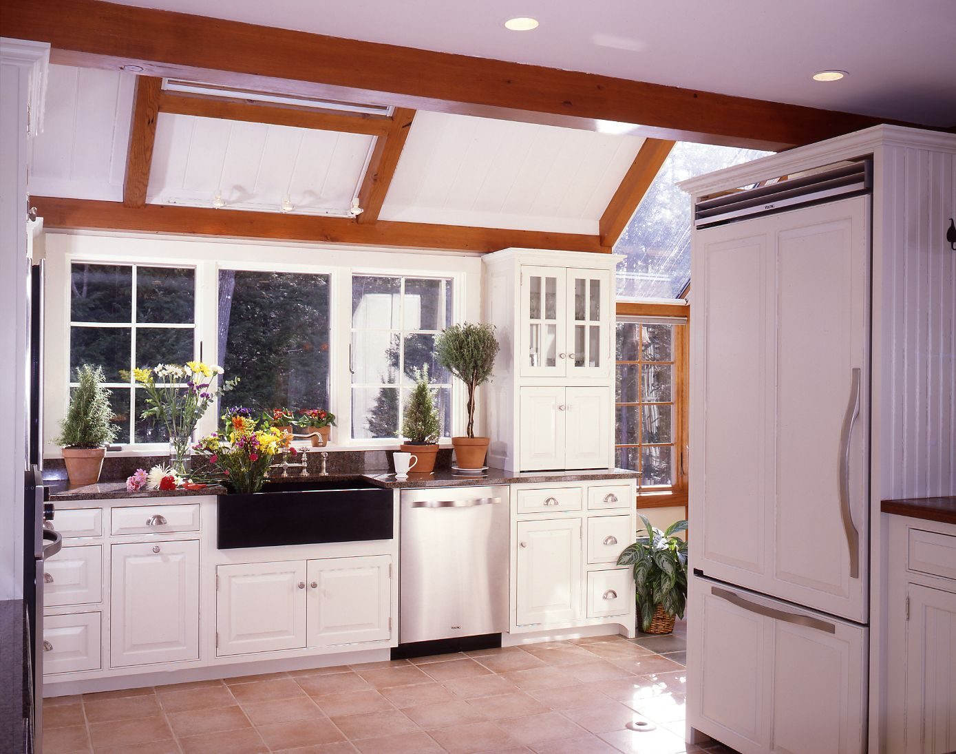 Alluring Additional Exposed Wooden Beams to Complete Small White Kitchen Remodel