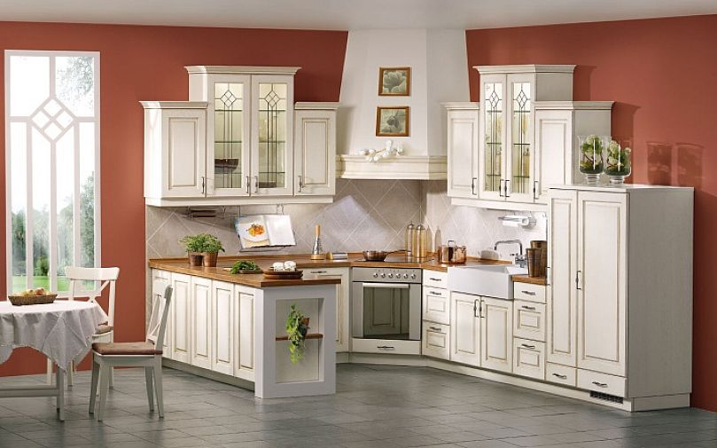 Alluring Antique White Cabinets Combined With Wooden Countertop And Brown  Room Painting