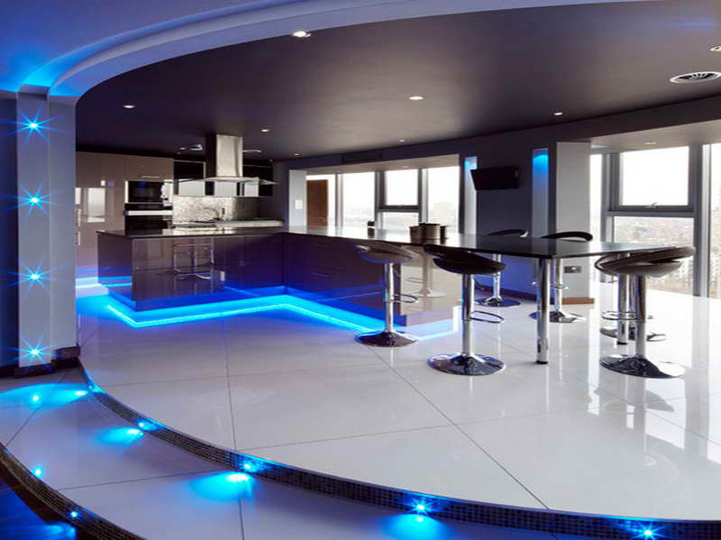 Alluring Blue Decorative Lighting for Contemporary Home Bar Ideas in Black and White Coloring Scheme
