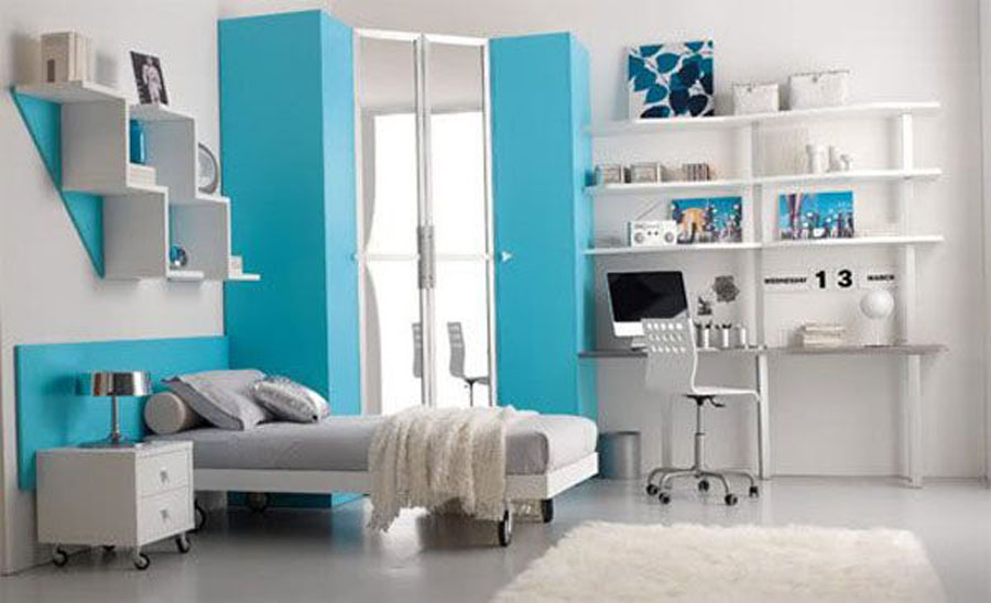 Superieur Alluring Color Combination For Girl Bedroom With Blue, White And Grey  Accents