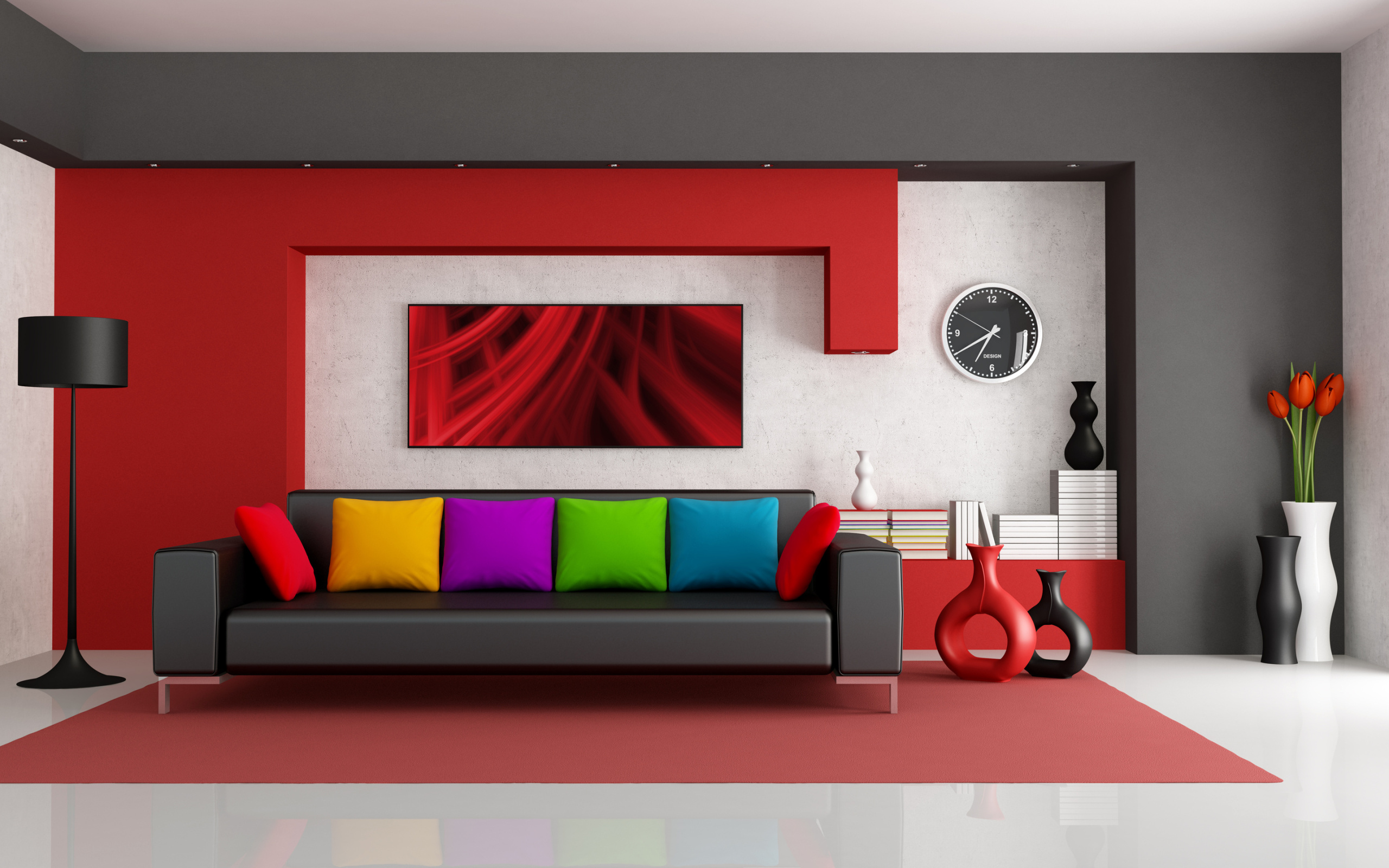 Alluring Color Scheme to Complete Interior Design with the Combination of Grey and Red