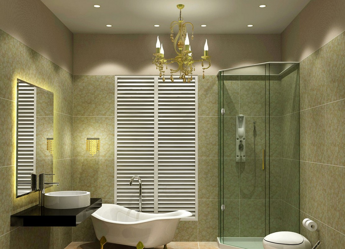 Alluring Green Bathroom With Star Ceiling Lamps And Classic Chandelier For  Decoration