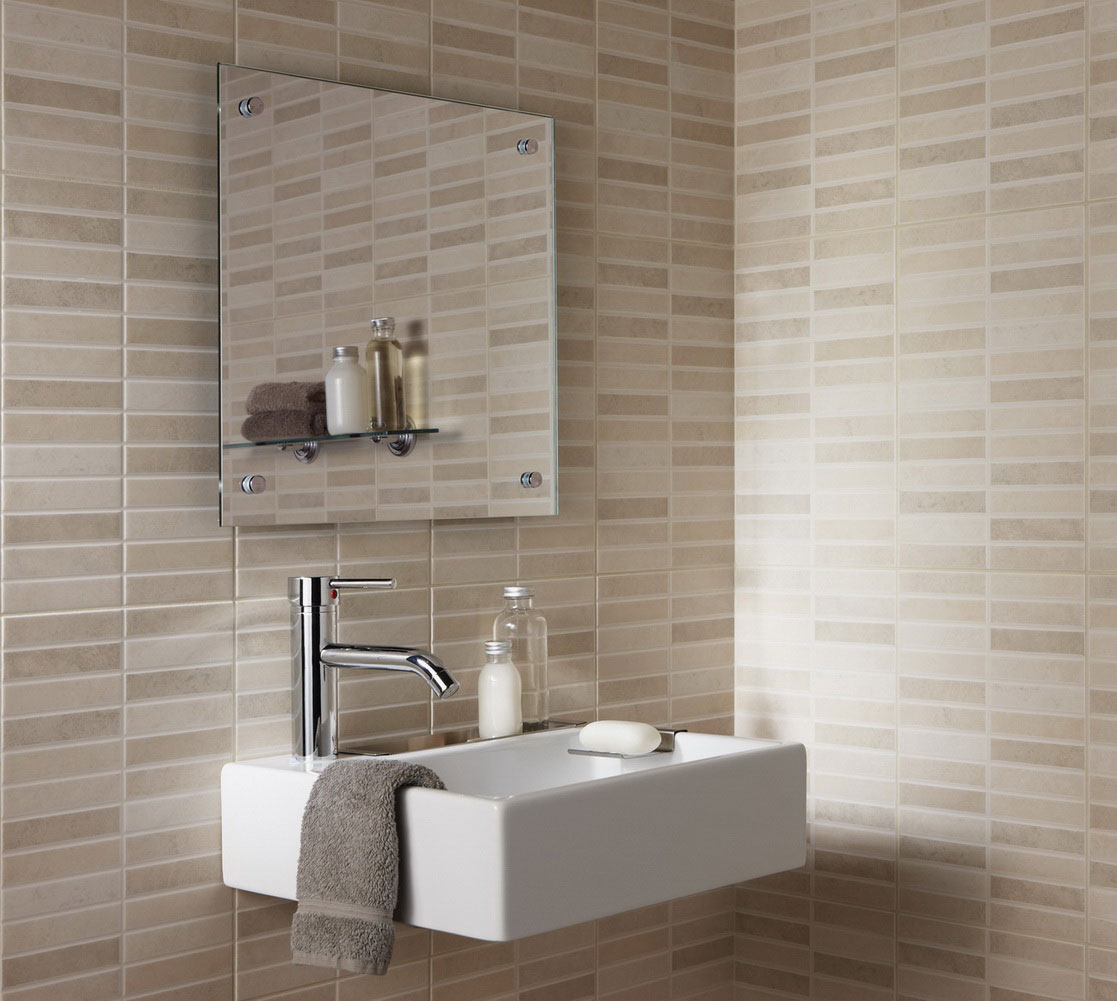 Delicieux Alluring Neutral Toned Bathroom Tile Idea For Small Bathroom With Floating  White Vanity