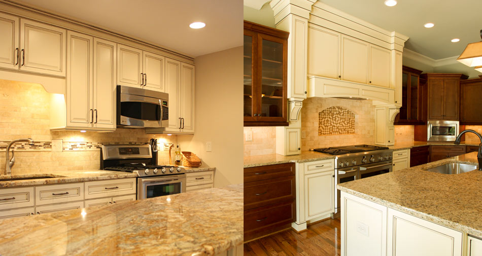 Charmant Antique White Kitchen Cbinets Combined With Marble Or Granite Countertop  And Patterned Backsplash