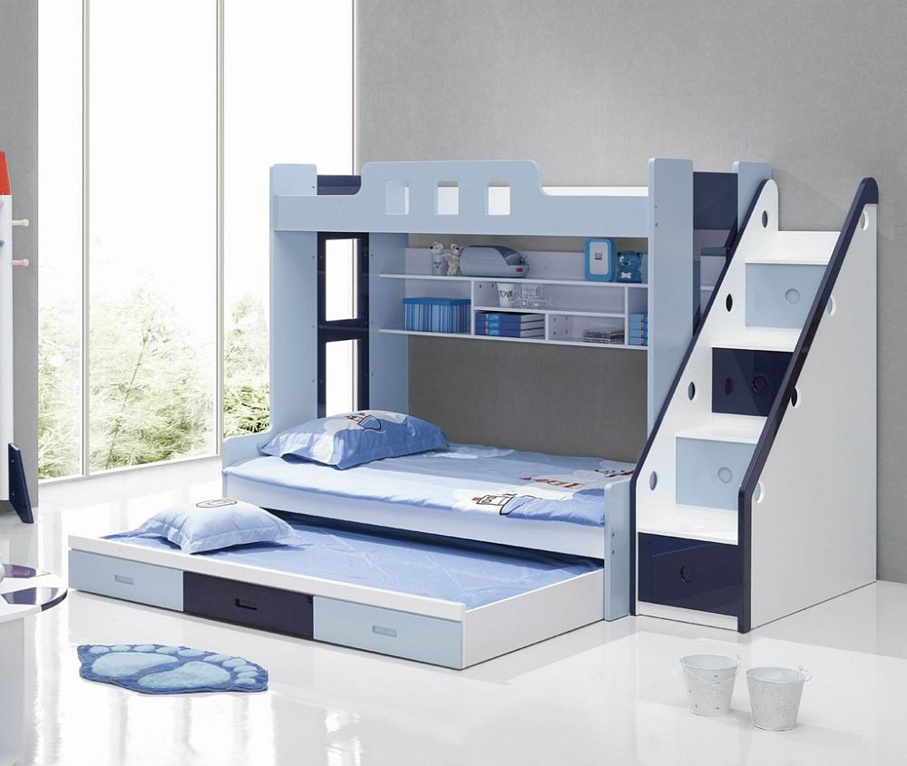 Appealing Blue Toddler Bunk Beds with White Shelves and Interesting Stairs inside Wide Bedroom