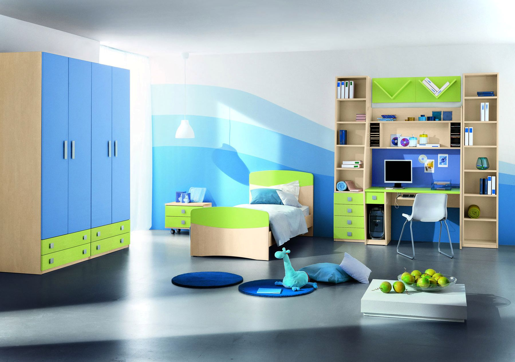 Appealing Boys Bedroom Ideas with Wooden Bed and Blue Wardrobe Cabinets on Concrete Flooring