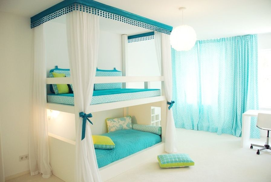 Delicieux Appealing Girl Room Ideas For Twin With Bunk Bed And Interesting White And  Blue Color Scheme